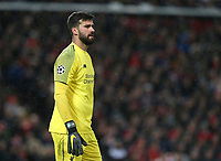 Liverpool's Alisson Becker<br /> <br /> Photographer Rich Linley/CameraSport<br /> <br /> UEFA Champions League Round of 16 First Leg - Liverpool and Bayern Munich - Tuesday 19th February 2019 - Anfield - Liverpool<br />  <br /> World Copyright © 2018 CameraSport. All rights reserved. 43 Linden Ave. Countesthorpe. Leicester. England. LE8 5PG - Tel: +44 (0) 116 277 4147 - admin@camerasport.com - www.camerasport.com