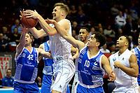 GRONINGEN - Basketbal, Donar - Landstede Zwolle, Supercup seizoen 2017-2018, 05-10-2017, Donar speler Thomas Koenes met Landstede speler Jordan Gregory en Landstede speler Noah Dahlman