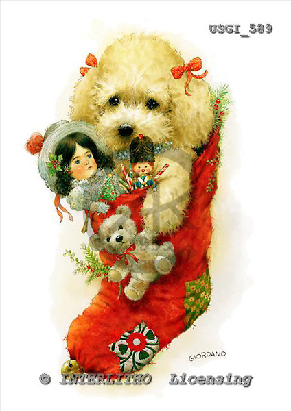 GIORDANO, CHRISTMAS ANIMALS, WEIHNACHTEN TIERE, NAVIDAD ANIMALES, paintings+++++,USGI589,#XA# christmas stocking