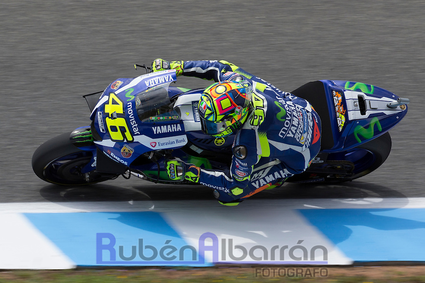 Valentino Rossi during the free practice in Motorcycle Championship GP, in Jerez, Spain. April 22, 2016