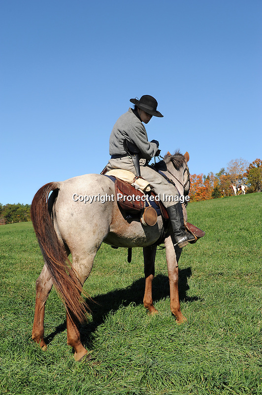 Civil War Reenactment Confederate Army Cavalry Soldier