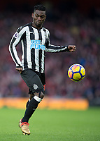 Christian Atsu of Newcastle United in action during the Premier League match between Arsenal and Newcastle United at the Emirates Stadium, London, England on 16 December 2017. Photo by Vince  Mignott / PRiME Media Images.