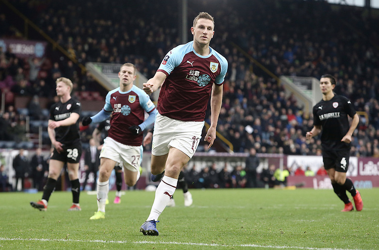 Burnley's Chris Wood celebrates after scoring the winning goal from the penalty spot<br /> <br /> Photographer Rich Linley/CameraSport<br /> <br /> Emirates FA Cup Third Round - Burnley v Barnsley - Saturday 5th January 2019 - Turf Moor - Burnley<br />  <br /> World Copyright © 2019 CameraSport. All rights reserved. 43 Linden Ave. Countesthorpe. Leicester. England. LE8 5PG - Tel: +44 (0) 116 277 4147 - admin@camerasport.com - www.camerasport.com