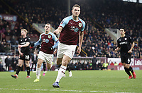 Burnley's Chris Wood celebrates after scoring the winning goal from the penalty spot<br /> <br /> Photographer Rich Linley/CameraSport<br /> <br /> Emirates FA Cup Third Round - Burnley v Barnsley - Saturday 5th January 2019 - Turf Moor - Burnley<br />  <br /> World Copyright &copy; 2019 CameraSport. All rights reserved. 43 Linden Ave. Countesthorpe. Leicester. England. LE8 5PG - Tel: +44 (0) 116 277 4147 - admin@camerasport.com - www.camerasport.com