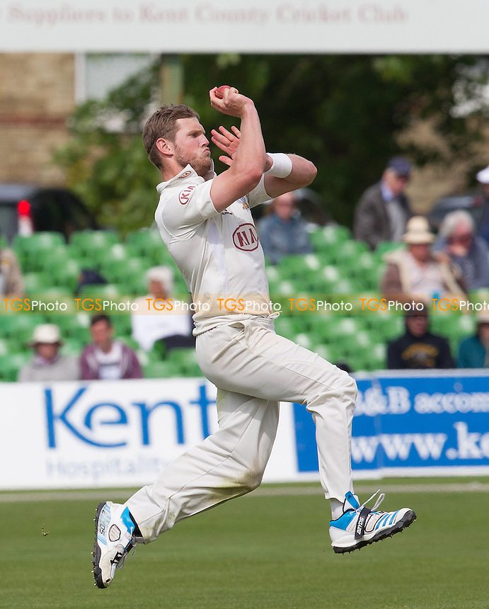 Stuart Meaker of Surrey CCC in action on day 2 of the championship fixture with Kent at Canterbury - Kent CCC vs Surrey CCC - LV County Championship Division Two Cricket at the Spitfire Ground, St Lawrence, Canterbury, Kent - 05/05/14 - MANDATORY CREDIT: Ray Lawrence/TGSPHOTO - Self billing applies where appropriate - 0845 094 6026 - contact@tgsphoto.co.uk - NO UNPAID USE