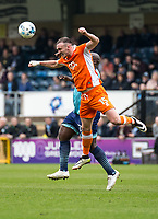 Tom Aldred of Blackpool during the Sky Bet League 2 match between Wycombe Wanderers and Blackpool at Adams Park, High Wycombe, England on the 11th March 2017. Photo by Liam McAvoy.