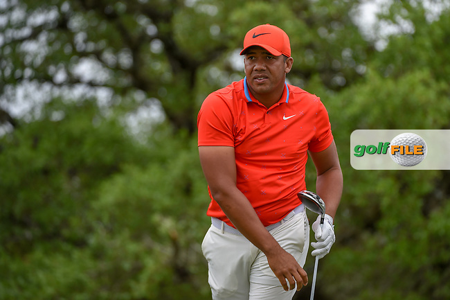 Jhonattan Vegas (VEN) watches his tee shot on 2 during day 4 of the Valero Texas Open, at the TPC San Antonio Oaks Course, San Antonio, Texas, USA. 4/7/2019.<br /> Picture: Golffile   Ken Murray<br /> <br /> <br /> All photo usage must carry mandatory copyright credit (© Golffile   Ken Murray)