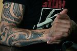 Detail photo of Ben Harper's tattos at his studio in Santa Monica, California, U.S. December 7, 2012 ©Jonathan Alcorn/JTA