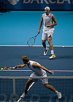 L Kubot (POL) / O Marach (AUT) against  L Dlouhy (CZE) / L Paes (IND) in the Group B Doubles. L Kubot / O Marach  d L Dlouhy  / L Paes  63 76(3)..International Tennis - Barclays ATP World Tour Finals - O2 Arena - London - Day 2 - Mon 23 Nov 2009..© Frey - AMN IMAGES, Level 1 Barry House, 20-22 Worple Road, London, SW19 4DH - +44 20 8947 0100
