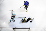 Medical Kings Skater #8 Hayes To (l) dives into a goalmouth battle against Verity Skater #93 Robert Wong (r) during the Principal Standard League match between Medical Winner Kings vs Verity at the Mega Ice on 17 January 2017 in Hong Kong, China. Photo by Marcio Rodrigo Machado / Power Sport Images