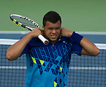 Jo-Wilfried Tsonga (FRA) loses to Alex Bogomolov (USA) at the Western and Southern Financial Group Masters Series in Cincinnati on August 17, 2011.   Bogomolov won, 6-3, 6-4.