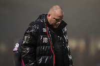 Morecambe manager Jim Bentley leaves the pitch at half time of the abandoned Sky Bet League 2 match between Newport County and Morecambe at Rodney Parade, Newport, Wales on 10 December 2016. Photo by Mark  Hawkins.