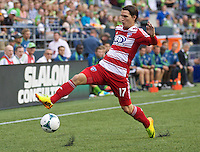 Zach Loyd of FC Dallas tracks down the ball during a match against Sounders FC at CenturyLink Field in Seattle Saturday August, 3, 2013. The Sounders defeated Dallas 3-0.
