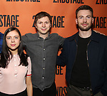 Bel Powley, Michael Cera and Chris Evans backstage at  the Second Stage Theater Broadway lights up the Hayes Theatre at the Hayes Theartre on February 5, 2018 in New York City.