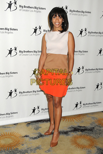Morgana Freeman.Big Brothers Big Sisters of Greater Los Angeles 2013 Accessories for Success Spring Luncheon held at The Beverly Hills Hotel, Beverly Hills, California, USA, .12th April 2013..full length white sleeveless red beige colour block dress tan shoes gold bracelets .CAP/ADM/BP.©Byron Purvis/AdMedia/Capital Pictures