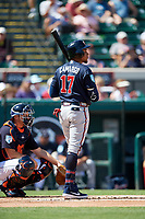 Atlanta Braves first baseman Johan Camargo (17) at bat during a Grapefruit League Spring Training game against the Detroit Tigers on March 2, 2019 at Publix Field at Joker Marchant Stadium in Lakeland, Florida.  Tigers defeated the Braves 7-4.  (Mike Janes/Four Seam Images)