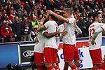 01.12.2018, RheinEnergieStadion, Koeln, GER, 2. FBL, 1.FC Koeln vs. SpVgg Greuther Fürth,<br />  <br /> DFL regulations prohibit any use of photographs as image sequences and/or quasi-video<br /> <br /> im Bild / picture shows: <br /> die Kölner freuen sich ueber das 3:0 Louis Schaub (FC Koeln #13),   Jhon Córdoba (FC Koeln #15),   Rafael Czichos (FC Koeln #5),   Simon Terodde (FC Koeln #9), <br /> Foto © nordphoto / Meuter