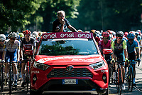 RCS Sport race director Stefano Allocchio peering out of the pilot car during the neutralised roll-out out of Milan<br /> <br /> 'La Primavera' (Spring) in summer!<br /> 111st Milano-Sanremo 2020 (1.UWT)<br /> 1 day race from Milano to Sanremo (305km)<br /> <br /> the postponed edition > exceptionally held in summer because of the Covid-19 pandemic calendar reshuffle
