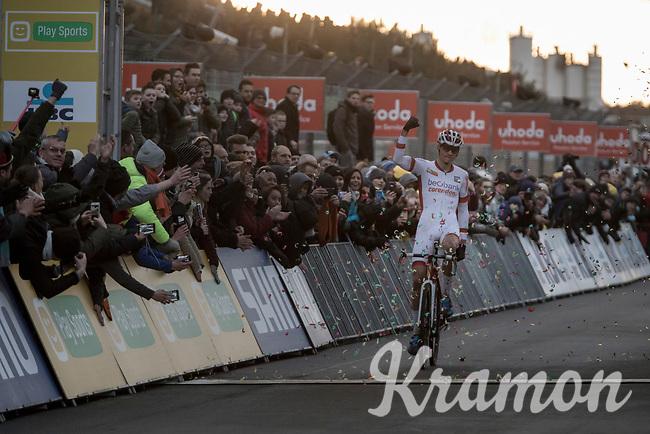Winner Mathieu Van Der Poel (NED/Beobank Corendon) finishing .<br /> <br /> Elite Men's Race<br /> UCI CX World Cup Zolder / Belgium 2017