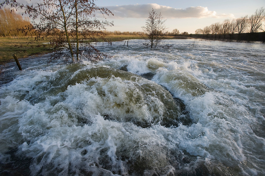 Nederland, Hurwenen, 2 maart 2010.Uiterwaarden van de Waal bij Hurwenen (Zaltbommel) lopen vol met water. Door een duiker perst het water zich de uiterwaarde in..De waterstand is hoog door smeltwater uit duitsland. ..Foto Michiel Wijnbergh