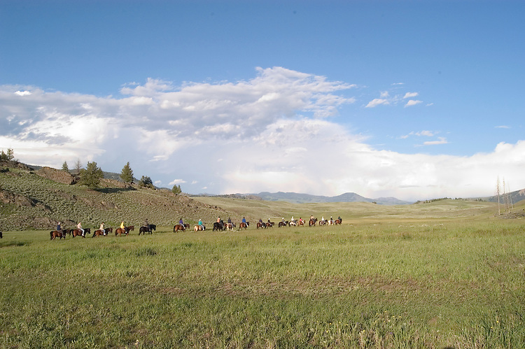 WY: Wyoming; Yellowstone National Park:.Roosevelt Lodge western cookout with horse rides and wagon rides..Photo #: yellow1460.Photo copyright Lee Foster, 510/549-2202, lee@fostertravel.com, www.fostertravel.com..