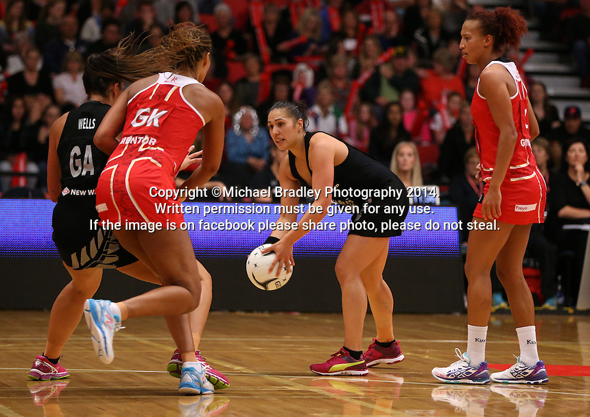 28.10.2014 Silver Ferns BGrace Rasmussen in action during the Silver Ferns V England netball match played at the Rotorua Events Centre in Rotorua. Mandatory Photo Credit ©Michael Bradley.