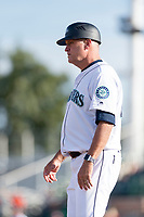 Peoria Javelinas manager Daren Brown (43), of the Seattle Mariners organization, during the Arizona Fall League Championship game against the Salt River Rafters at Scottsdale Stadium on November 17, 2018 in Scottsdale, Arizona. Peoria defeated Salt River 3-2 in 10 innings. (Zachary Lucy/Four Seam Images)