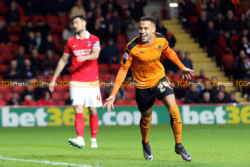 Jordan Graham celebrates scoring Wolves opening goal during Charlton Athletic vs Wolverhampton Wanderers, Sky Bet Championship Football at The Valley, London, England on 28/12/2015