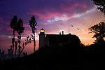 The Historic Point Betsie Lighthouse On A Stormy Lake Michigan Morning Before Sunrise, Michigan's Lower Peninsula, USA