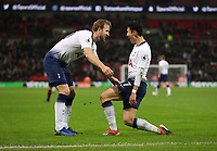 Tottenham Hotspur's Son Heung-Min celebrates scoring his side's third goal with Harry Kane<br /> <br /> Photographer Rob Newell/CameraSport<br /> <br /> The Premier League - Tottenham Hotspur v Southampton - Wednesday 5th December 2018 - Wembley Stadium - London<br /> <br /> World Copyright © 2018 CameraSport. All rights reserved. 43 Linden Ave. Countesthorpe. Leicester. England. LE8 5PG - Tel: +44 (0) 116 277 4147 - admin@camerasport.com - www.camerasport.com