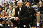 SIOUX FALLS, SD - DECEMBER 8: Head Coach Chris Johnson from the University of Sioux Falls watches his team against Minot State Friday night at the Stewart Center. (Photo by Dave Eggen/Inertia)