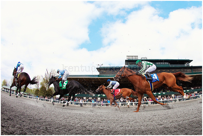 Horses run at Keeneland on April 19, 2012, in Lexington, Ky. Photo by Emily Wuetcher | Staff....