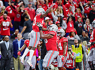 Indianapolis, IN - DEC 1, 2018: Ohio State Buckeyes wide receiver Terry McLaurin (83) celebrates his second touchdown of the game right before the first half ends during the Big Ten Championship game between Northwestern and Ohio State at Lucas Oil Stadium in Indianapolis, IN. (Photo by Phillip Peters/Media Images International)