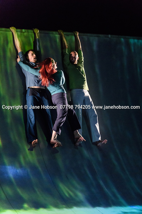 "London, UK. 25.04.2017. Motionhouse presents ""Scattered"", at the Peacock Theatre. The performers are: Martina Bussi, Daniel Connor, Junior Cunningham, Chris Knight, Naomi Tadevossian, Alasdair Stewart, Becci Williams. Photograph © Jane Hobson."