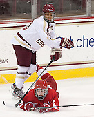 Alyssa Gagliardi (Cornell - 2), Blake Bolden (BC - 10) - The Boston College Eagles defeated the visiting Cornell University Big Red 4-3 (OT) on Sunday, January 11, 2012, at Kelley Rink in Conte Forum in Chestnut Hill, Massachusetts.