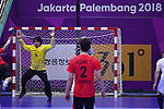Akihito Kai (JPN), <br /> AUGUST 17, 2018 - Handball : Men's Preliminary Round match between <br /> Korea 26-26 Japan at GOR Popki Cibubur during the 2018 Jakarta Palembang Asian Games in Jakarta, Indonesia. <br /> (Photo by MATSUO.K/AFLO SPORT)