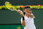 March 9, 2019: Felix Auger-Aliassime (CAN) hits a backhand in a match where he defeated Stefanos Tsitsipas (GRE) 6-4, 6-2 at the BNP Paribas Open at the Indian Wells Tennis Garden in Indian Wells, California. ©Mal Taam/TennisClix/CSM