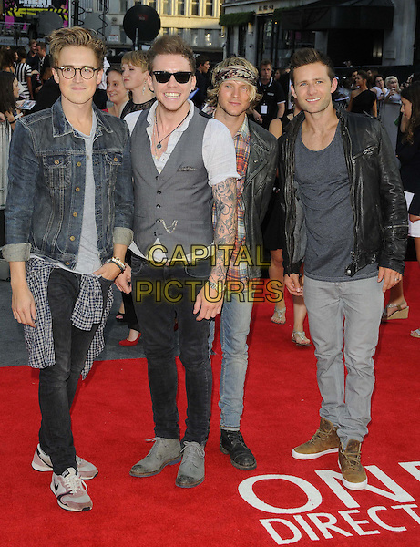 McFly ( Tom Fletcher, Danny Jones, Dougie Poynter &amp; Harry Judd )<br /> attended the &quot;One Direction: This is Us 3D&quot; world film premiere, Empire cinema, Leicester Square, London, England.<br /> August 20th, 2013<br /> full length grey gray shirt jean denim black leather jacket red check shirt sunglasses shades glasses band group tattoos 1D<br /> CAP/CAN<br /> &copy;Can Nguyen/Capital Pictures