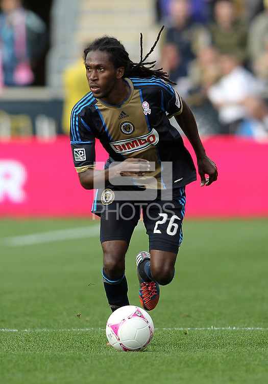 CHESTER, PA - OCTOBER 27, 2012:  Danny Cruz (44) of the Philadelphia Union against the New York Red Bulls during an MLS match at PPL Park in Chester, PA. on October 27. Red Bulls won 3-0.