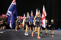 10.02.2017 Silver Ferns Katrina Grant lead the team out ahead of the Silver Ferns v England Roses Vitality Netball International Series test match played at the Echo Arena in Liverpool. Mandatory Photo Credit © Paul Greenwood/Michael Bradley Photography.