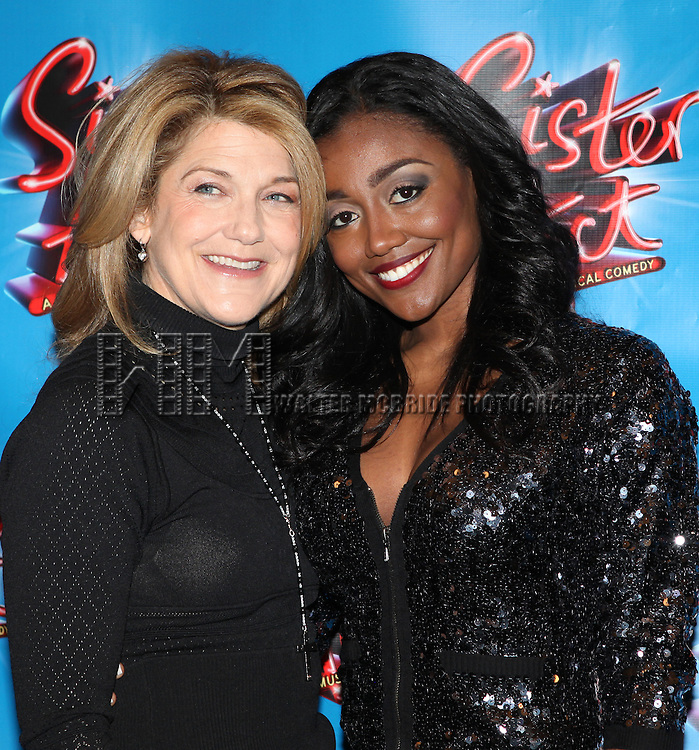 Victoria Clark and Patina Miller.attending the Meet & Greet the press day for the New Broadway Musical 'Sister Act'  at the New 42nd Street Studios in New York City.