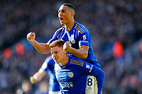 1st February 2020; King Power Stadium, Leicester, Midlands, England; English Premier League Football, Leicester City versus Chelsea; Harvey Barnes and Youri Tielemans of Leicester City celebrate Barnes' equalising goal after 53 minutes for 1-1