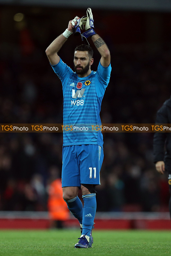 Rui Patricio of Wolves applauds the Wolves fans after Arsenal vs Wolverhampton Wanderers, Premier League Football at the Emirates Stadium on 11th November 2018