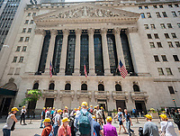 A sighting of Yellow-Hatted Tourists stopping in front of the New York Stock Exchange in Lower Manhattan on Wednesday, May 31, 2017.  (© Richard B. Levine)