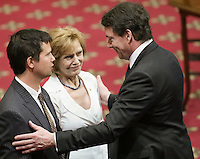 PQ leader Pierre-Karl Peladeau gives his condolences to Lisette Lapointe, wife of former Quebec premier Jacques Parizeau, as her husband lies in state at the National Assembly in Quebec City on Sunday June 7, 2015.
