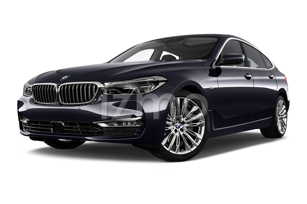 Stock pictures of low aggressive front three quarter view of a 2018 BMW 6 Series Gran Turismo Luxury 5 Door Hatchback