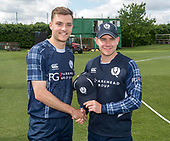 Cricket Scotland - Scotland V Sri Lanka at Kent County cricket ground at Benkenham, in the first of two matches on Sunday (today and Tuesday) - cap being presented to Stuart Whittingham by Matthew Cross - picture by Donald MacLeod - 21.05.2017 - 07702 319 738 - clanmacleod@btinternet.com - www.donald-macleod.com