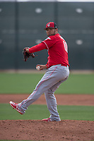 Cincinnati Reds relief pitcher Miguel Aguilar (80) during a Minor League Spring Training game against the Los Angeles Angels at the Cincinnati Reds Training Complex on March 15, 2018 in Goodyear, Arizona. (Zachary Lucy/Four Seam Images)