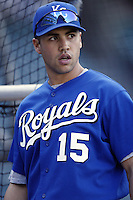 Carlos Beltran of the Kansas City Royals before a 2002 MLB season game against the Los Angeles Angels at Angel Stadium, in Anaheim, California. (Larry Goren/Four Seam Images)
