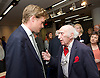 Tristram Hunt MP, Labour's Shadow Secretary of State for Education delivers a speech as part of Labour's summer campaign on The Choice facing the country between Labour and the Conservatives on education at Microsoft, London, Great Britain 18th August 2014. Pictured with Fred Jarvis General Secretary of the National Union of Teachers (NUT) from 1975 to 1989.<br />